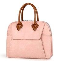 Women Briefcase Leather Stylish Pink Shoulder Laptop Bag for Ladies Waterproof 13.3 14 15.6 Quality Laptop Handbag Tote big 2019