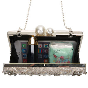 Image 4 - ZD1361 pochettes pour femmes, pochettes argent cristal, bourses faites main avec perles de mariage, sacs à main de luxe à bandoulière