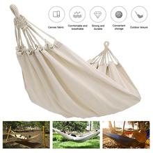 Outdoor Double Hammock Rollover Prevention Camping Canvas Fabric Hammock Hanging Hammock Patio Bed Travel Hiking