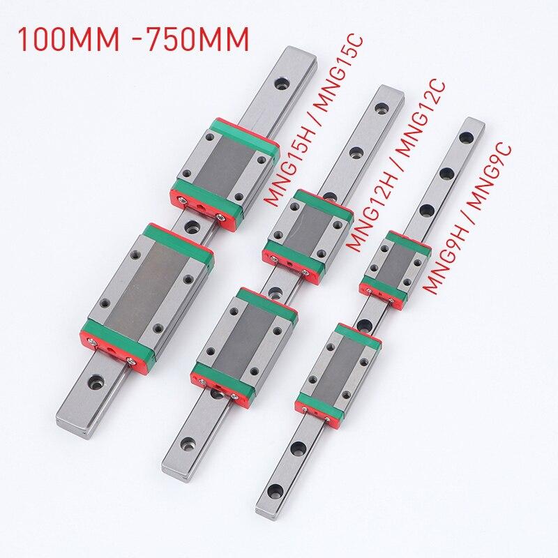 Miniatura guía lineal de carril Mini bloque de carro lineal GCR cojinete de acero guías lineales MGN 9C 9H 12C 12H 15C 15H 100mm 750mm