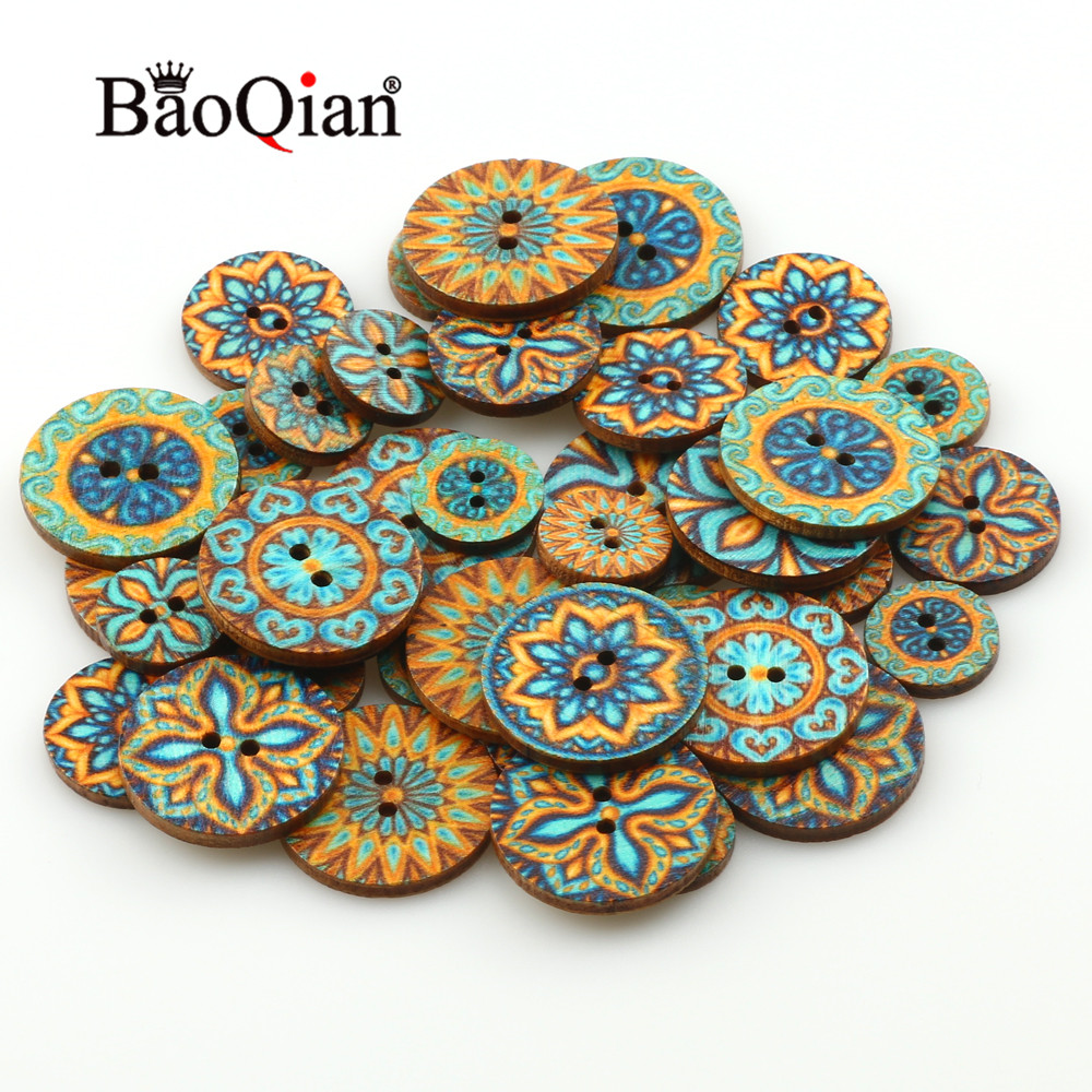 Amiable 50pcs 15/20/25mm Natural Wooden Round Painted Sewing Button For Clothing Decoration Scrapbook Diy Home Sewing Accessories