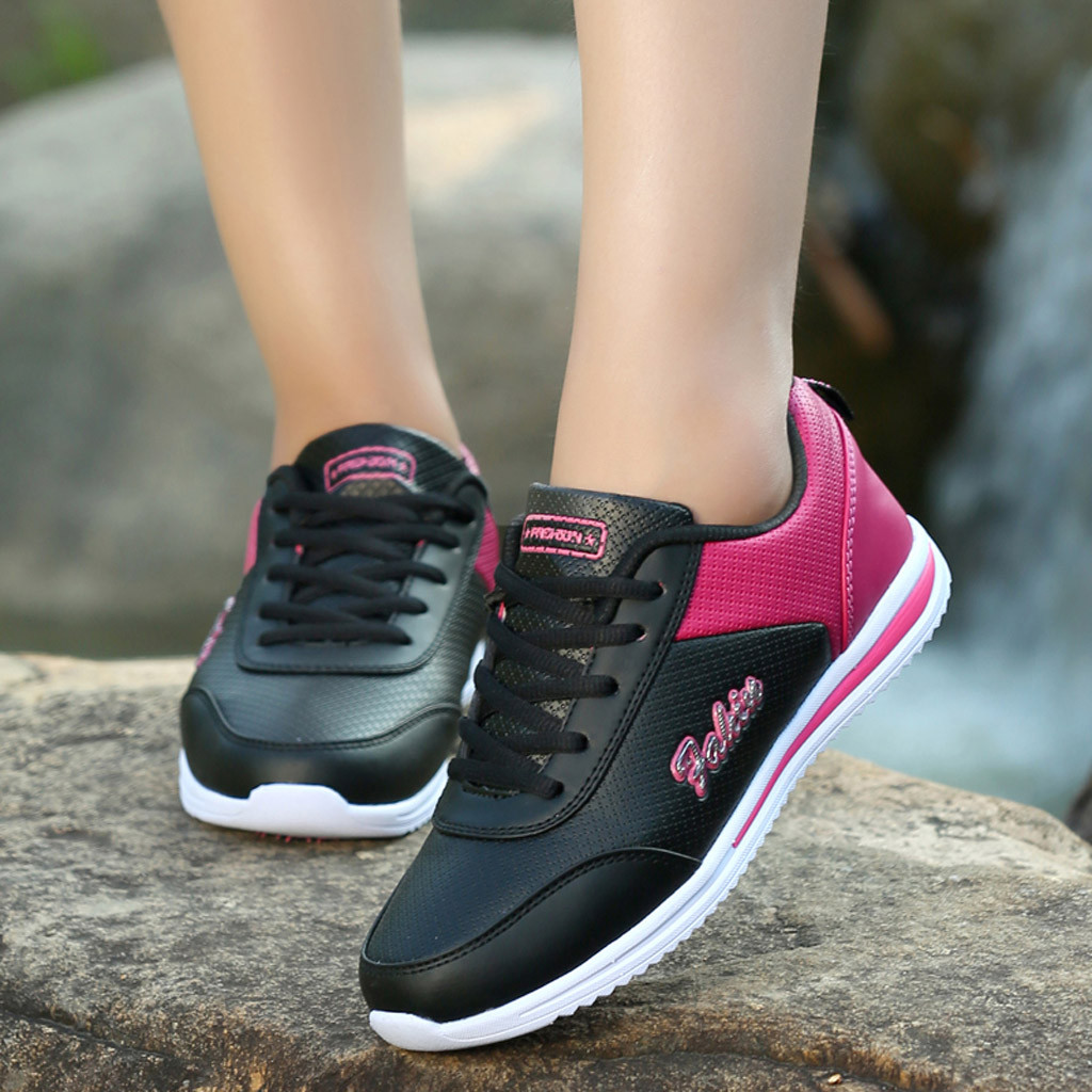 Shoes Woman Sneakers Ladies Comfortable Flat Mesh Round Lace-Up -808 Cross-Strap Sport title=