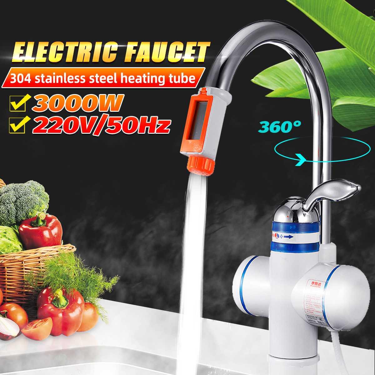 Электрический кран дисплей температуры водонагреватель кухонный мгновенный нагрев кран электрические водонагреватели