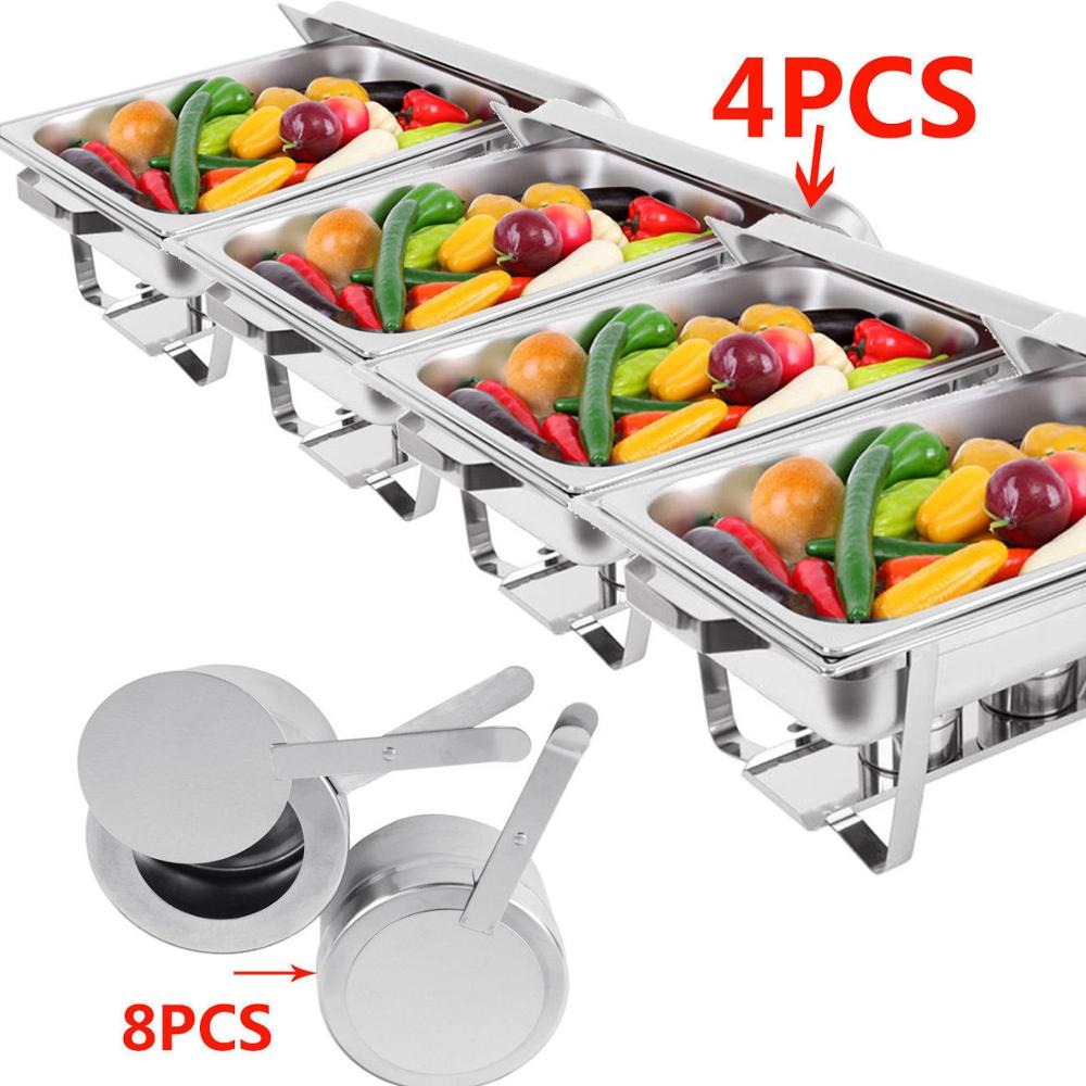 4pcs Chafing Dish Food Warmer Stainless Steel Holding Tank Heat Tray Set 9 L