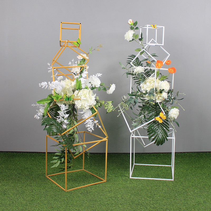 Wedding Road Lead halloween Iron Geometric Frame square wedding stands for flowers Ornaments Stage Artificial Flower Props