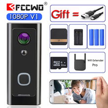 Fccwo V1 フル hd 1080 1080p wifi ビデオドアベル防水ワイヤレスホーム secity カメラ双方向オーディオトークナイトビジョン pir スマートフォーン