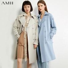 Amii minimalizm jesień zima przyczynowy trencz kobiety moda jednolita, z kołnierzykiem podwójne Bresated damska wiatrówka 12040353