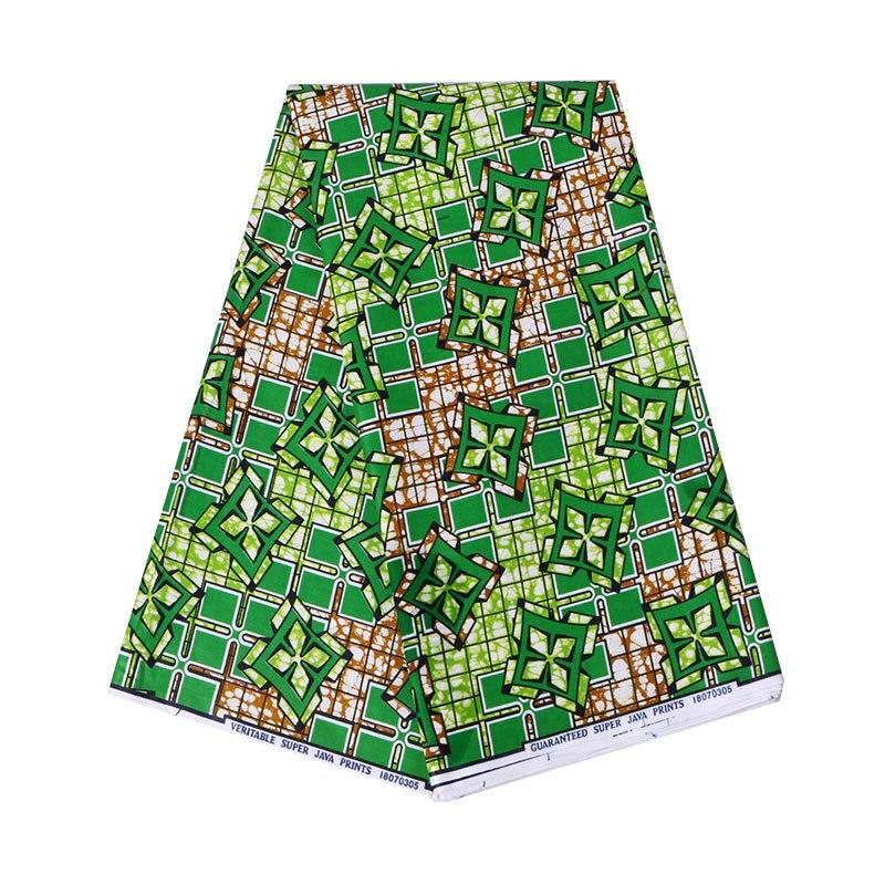 2019 Newest Fashion African Green 100% Cotton Wax Print Fabric Wax 6Yards\lot