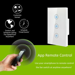 Image 4 - Smart Fan Switch In Wall Speed Control Wifi Enabled Variable Ceiling Touch Glass Panel Remote by Alexa Google Home Assistant