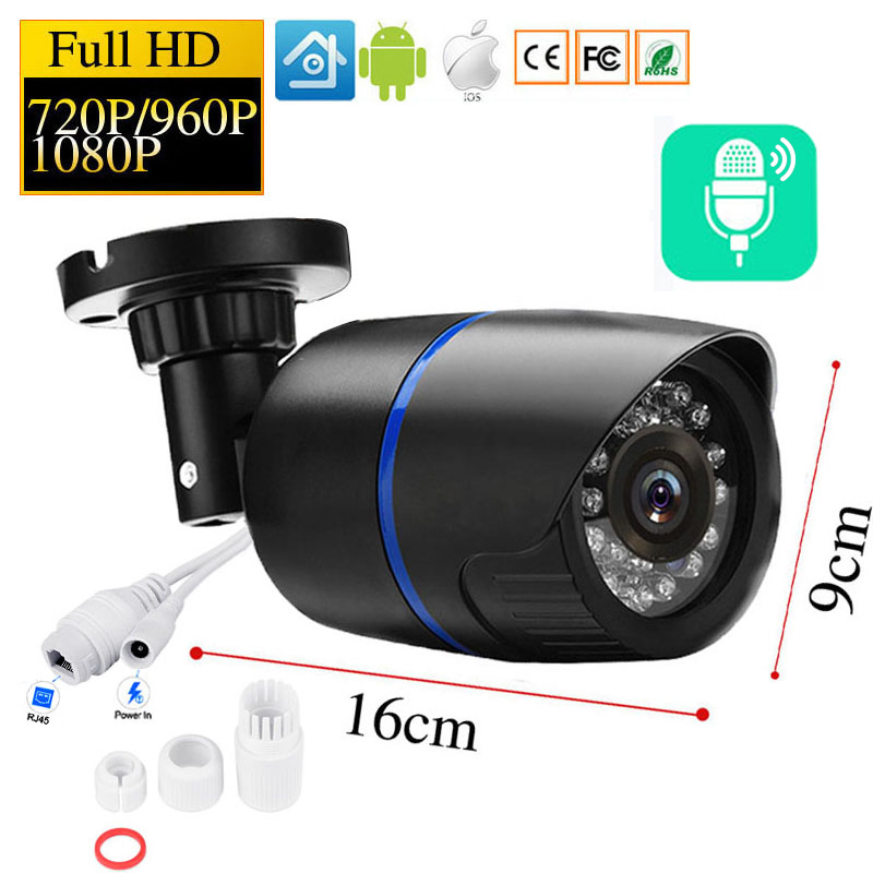 Surveillance Cameras Sound Recording Waterproof 2MP/3MP IP Camera Security Outdoor Bullet HD POE Camera ONVIF H.265/H.264 Audio
