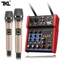 TKL mikser Audio UHF mikrofon Bluetooth Audio mikser Audio USB DJ konsola miksująca dźwięk 4 kanałowy 48V zasilanie Phantom