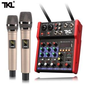 TKL Mixer De Áudio UHF microfone Bluetooth USB Mixer de Áudio DJ Console De Mixagem De Som 4 Canal 48V Phantom Power