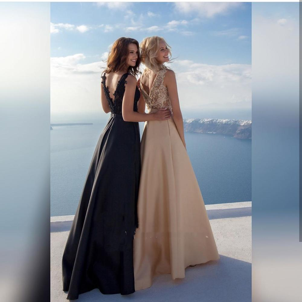 Champagne Evening Dress A-Line Satin 2020 Lace Appliques Floor Length Sexy V-Neck Elegant Women Formal Party Gowns Special
