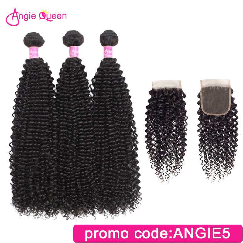 Angie Queen Kinky Curly Malaysian Remy Hair Human Hair Bundles With Closure Lace Closure With 4 Hair Bundles Natural Color L