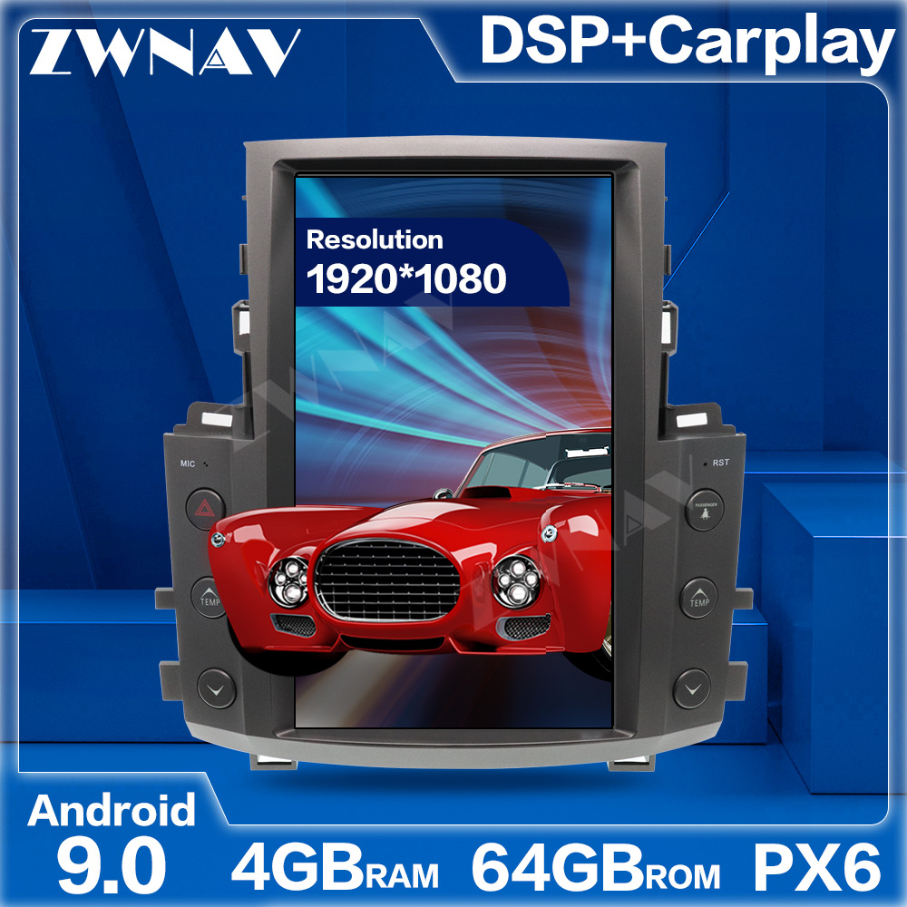 PX6 4+64 Tesla Style Big Screen <font><b>Android</b></font> 9.0 Car Multimedia Player For <font><b>Lexus</b></font> LX570 2007-2015 car GPS Audio Radio stereo head unit image