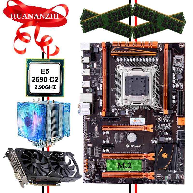 HUANANZHI deluxe X79 gaming motherboard with M.2 slot cheap motherboard CPU Xeon E5 <font><b>2690</b></font> RAM 64G video card GTX1050ti 4G image