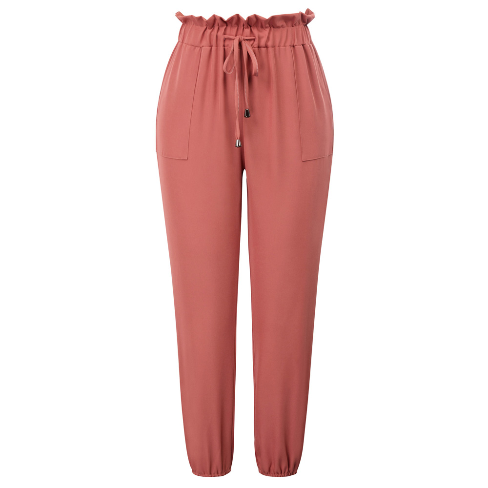 Women   pants   Elastic Waist Skinny   Pants     Capri   Frilled Drawstring Casual solid color pockets ruffles elegant retro office trousers