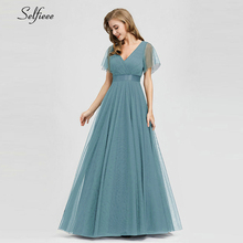 New Arrival Elegant Women Summer Dresses A-Line V-Neck Short Sleeve Solid Navy Blue Ladies Maxi 2019 Robe Femme