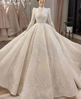 Muslim Wedding Dresses High Collar Beaded Sequins Long Sleeve Pleated Ball Gown Vestidos De Novias