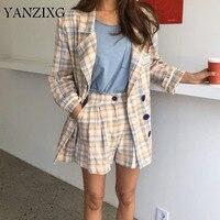 Women Blazers Sets 2019 Spring Korea Plaid Casual Coats Long Sleeve Jackets High Waist Shorts Two Piece Suits S159