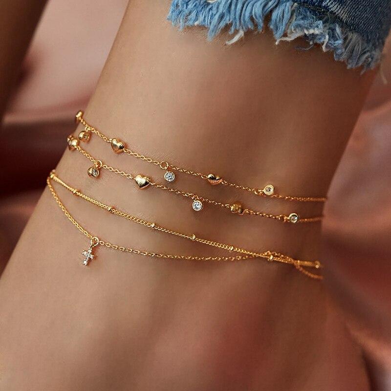Boho Gold Crystal Cross Ankle Bracelet for Women Summer Jewelry Leg Bracelet Multilayer Anklets Foot Chain Beach Accessories
