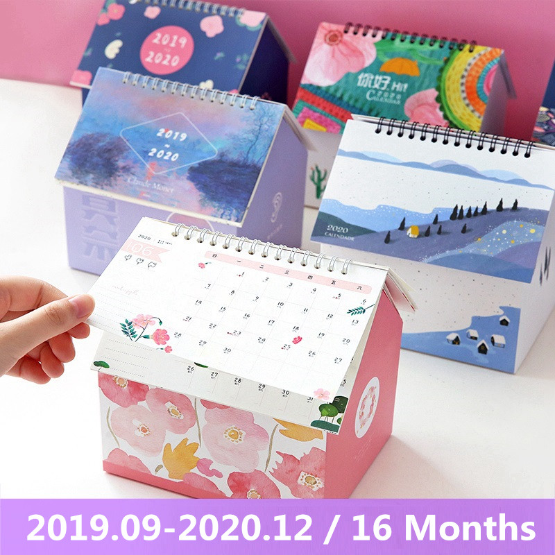 2020 Creative Folding House Desk Calendar Van Gogh Starry Night Cartoon Animal Calendars Desktop Storage Box