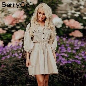 Image 4 - BerryGo Streetwear ארוך שרוול נשים שמלת דש קשת loose כותנה שמלה אלגנטית משרד ליידי עבודה ללבוש סתיו חורף רטרו שמלה