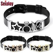 SEIALOY новые черные бренды из нержавеющей стали сетчатые браслеты для женщин мужские оригинальные часы браслет-цепочка браслеты украшения подарки