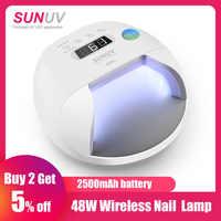 Sunuv sun7 prego lâmpada 48 w secador de unhas para gel verniz com 30 pces leds bateria escolha rápida seca prego máquina de secagem