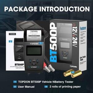 Image 5 - TOPDON – testeur de batterie de voiture BT500P 12V 24V, avec imprimante, charge de batterie, analyseur de batterie, démarrage automatique, moto