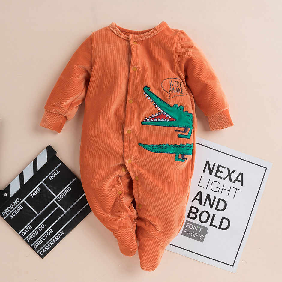 Newborn Baby Girl Boy Solid Cartoon Hooded Jumpsuit Toddler Kid Baby Boy Girl Cartoon Long Sleeve Romper Jumpsuit Pajamas 2020