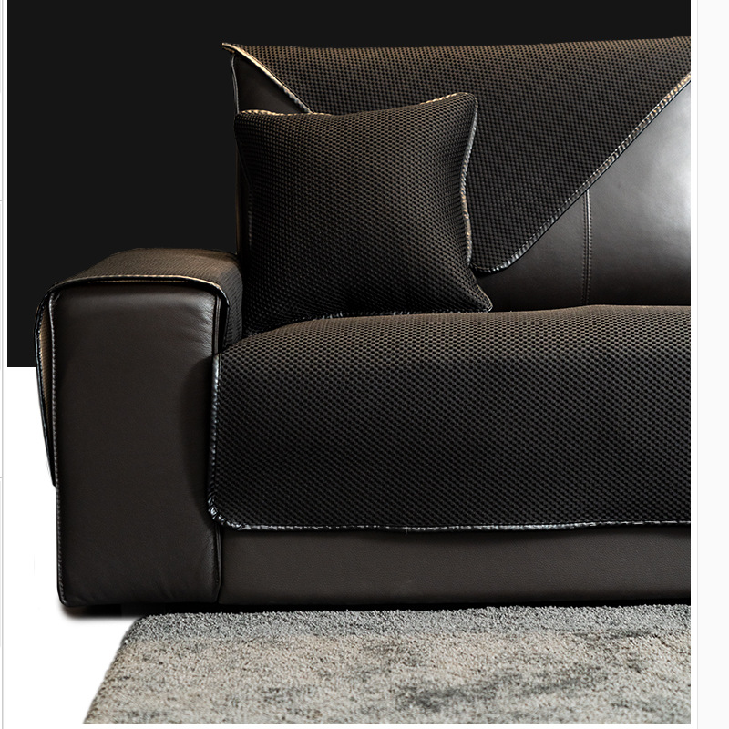 Simple Multi-color Sofa Cover For Leather Sofa Special Cushion, Non Slip Full Package, Solid Color Sofa Cover