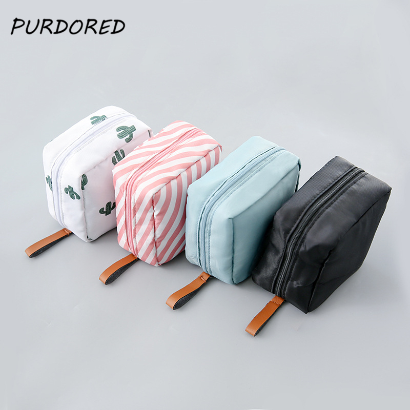 PURDORED 1 Pc Solid Color Cosmetic Bag Cactus Travel Toiletry Storage Bag Beauty Makeup Bag Cosmetic Bag Organizer Dropshipping