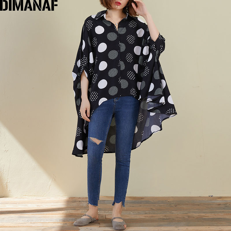 DIMANAF Plus Size Women Blouse Shirts Summer Lady Tops Tunic Oversize Chiffon Polka Dot Black Loose Casual Female Clothing 5XL