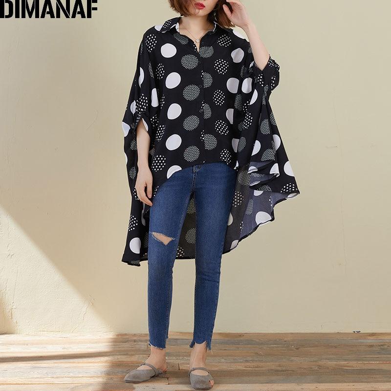 DIMANAF Plus Size Women Blouse Shirts Summer Lady Tops Tunic Oversize Chiffon Polka Dot Black Loose Casual Female Clothing 5XL