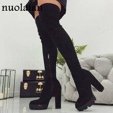 Сапоги на платформе 11 см; женские зимние сапоги выше колена; женская обувь из искусственной замши черного цвета; высокие сапоги до бедра; женская зимняя обувь на меху