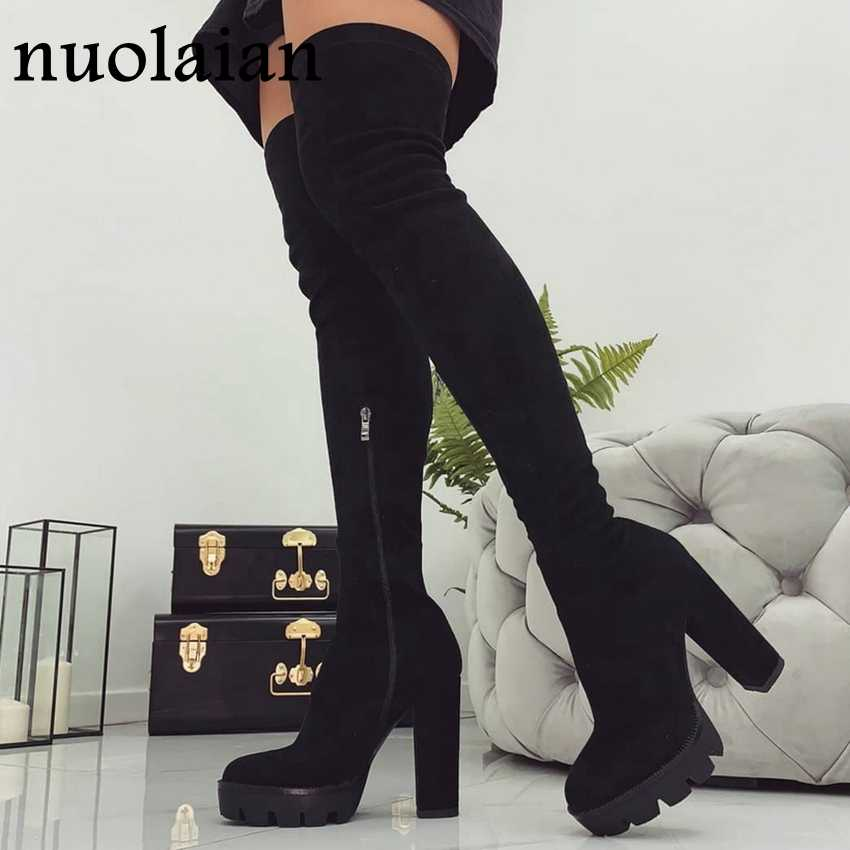 11CM Platform Heels Boots Woman Over Knee Winter Boot Womens Black Faux Suede Leather Shoes Thigh High Boots Lady Snow Fur Shoe