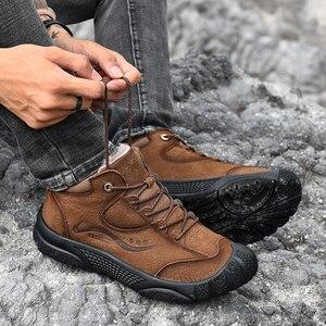 Image 5 - Plus Größe Natürliche Leder Männer Stiefel Handmade Warm Plüsch Pelz Männer Winter Schuhe Qualität Knöchel Schnee Stiefel Outdoor Schuhe Männer