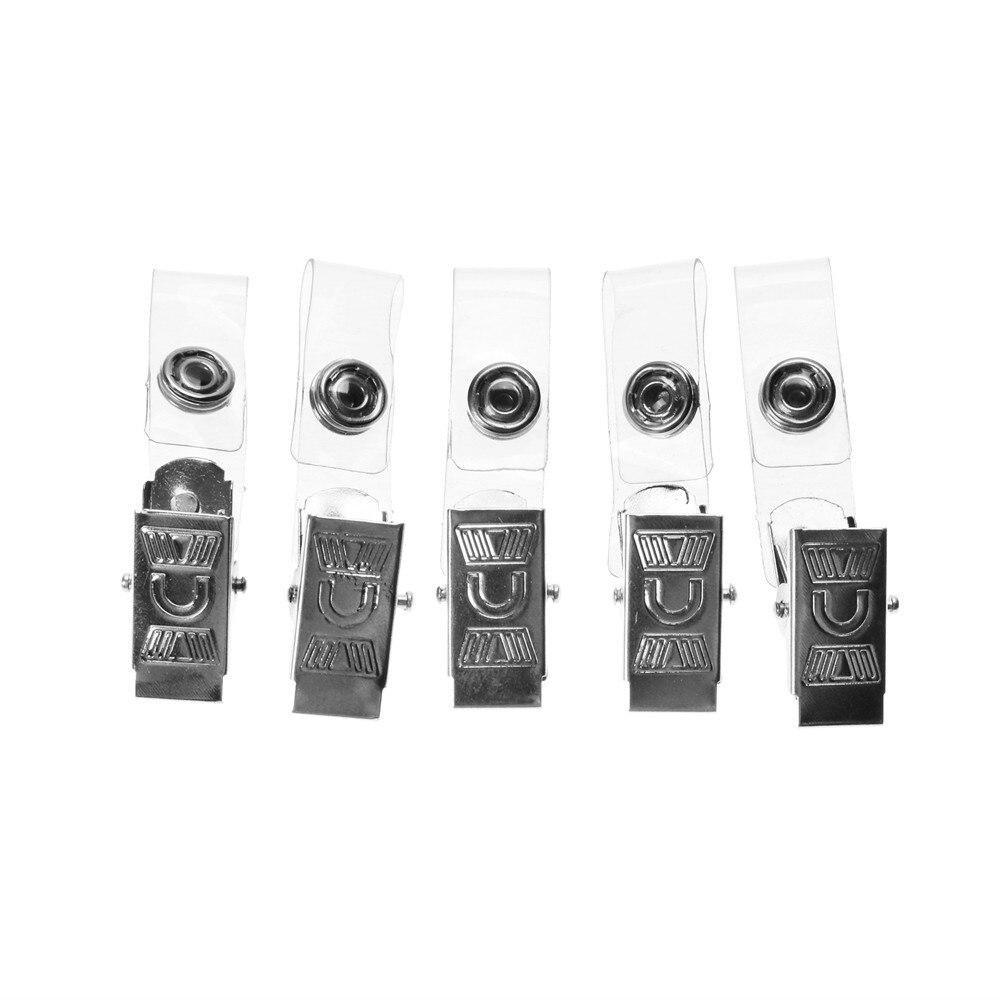 5Pcs/Pack ID Badge Lanyard Key Card Holder Metal Badge Name Tag Lanyard Clip School Office Supply