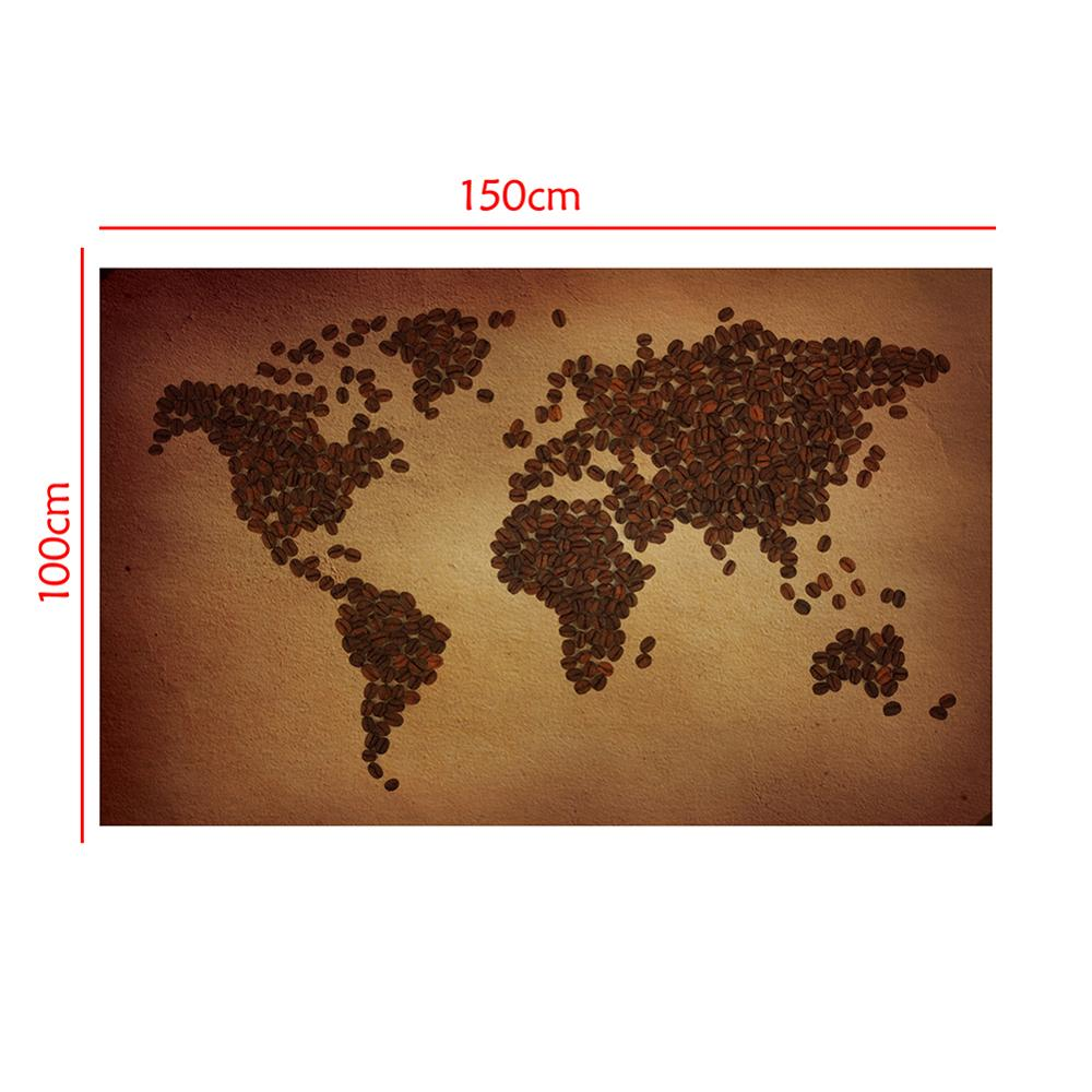 150x100cm Non-woven DIY World Map Plate Pattern Made Of Coffee Beans Home Wall Decor Map