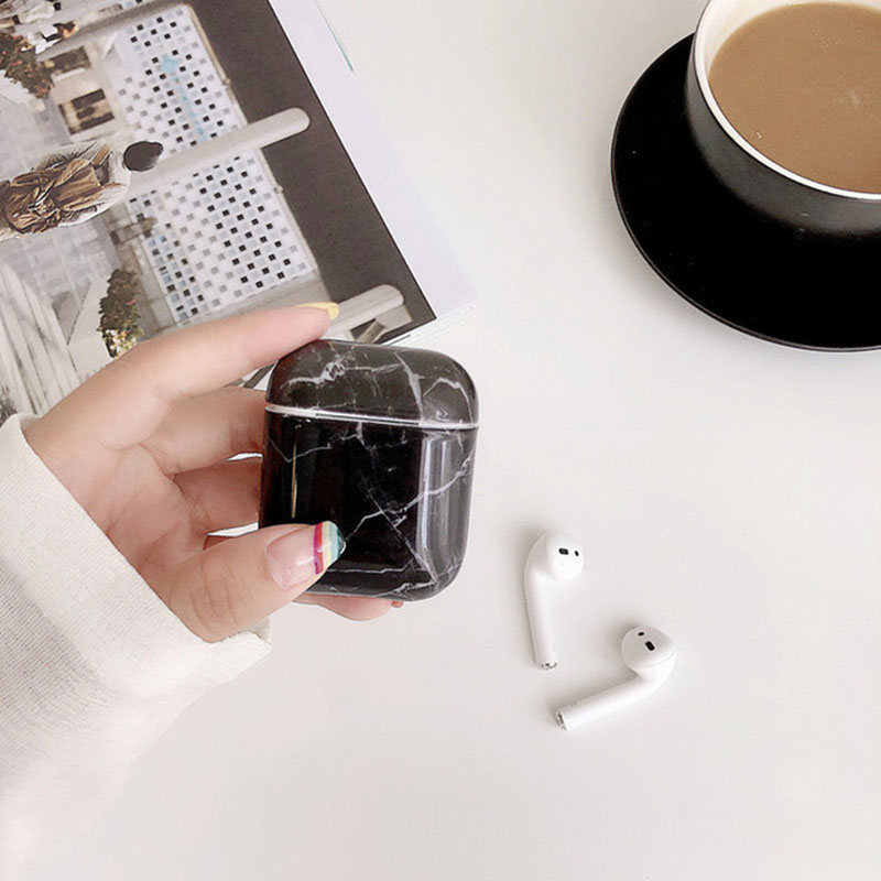 עבור apple שיש היוקרה Hard PC אוזניות לטעינה אלחוטית כיסוי תיק עבור Apple AirPods 1 2 באיכות גבוהה במקרה Bluetooth Box אוזניות Coque (4)