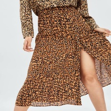 Autumn Leopard Printed Skirts Women za Skirt Casual Long Split High-waist  A-Line