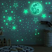 435 pçs/set 30cm lua estrelas pontos verde luminosa adesivo de parede crianças quarto teto escadas decoração fluorescente mural decalques