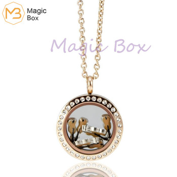 Stainless steel glass box pendant waterproof rose gold crystal life memory small boxory Lockets pendant women's fashion neckalce