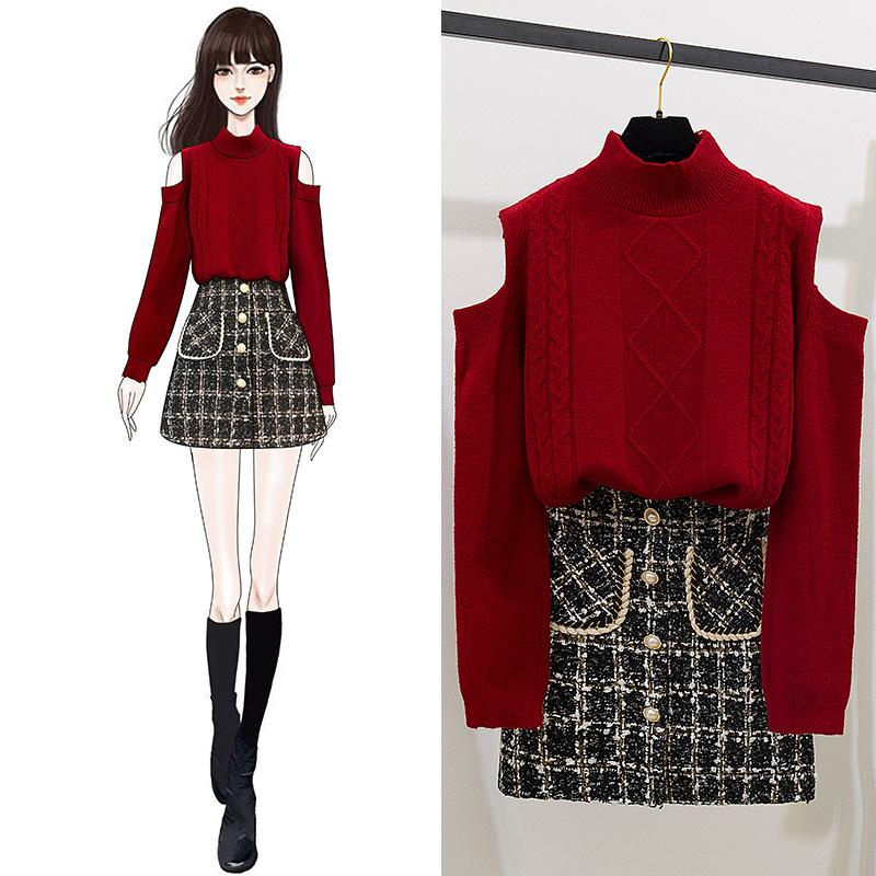 ICHOIX Elegant Sweater + Skirt Korean Outfits Women 2 Piece Set Burgundy Tops And Plaid Skirt Set Winter 2 Pcs Set Clothing