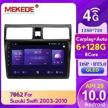 MEKEDE Android 10 6G 128G Auto Radio Stereo Video Player Navigation GPS Steuergerät für Suzuki Swift 3 2003 - 2010 QLED DSP carplay