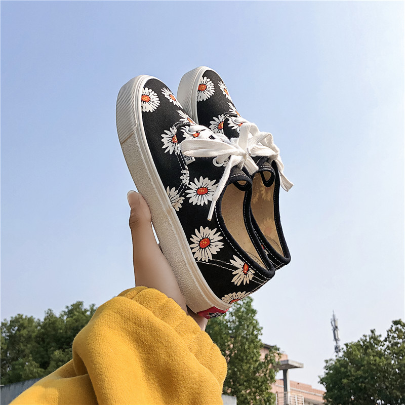 Spring Summer Printed Flowers Canvas Shoes Female Non-slip Korean Version  Lace-up With Joker Ins Street Snap Trend Board Shoes