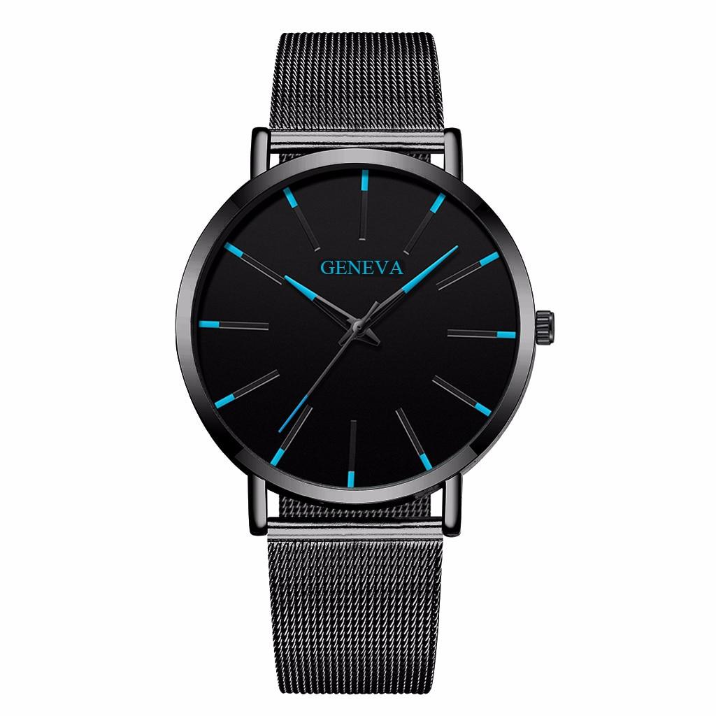 Hot Fashion Men Black Stainless Steel Mesh Belt GENEVA Watch Luxury Men Sport Watch Quartz Clock Relogio Masculino