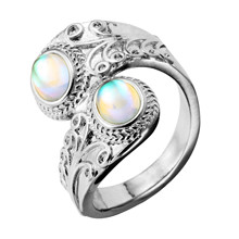 New Colorful Moonstone Ring Women's Exaggerated and Carved Punk Style Ring 925 Silver Retro Moonstone Ring