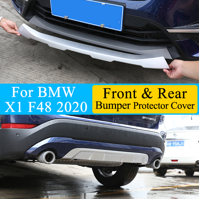 Car styling Front & Rear Bumper Guard Sill Plate Protector Cover Trim Stickers ABS Chrome For BMW X1 F48 2020 Exterior Accessory